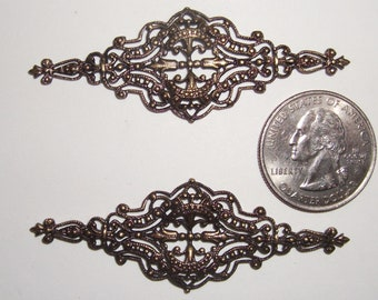 2 Vintage Antiqued Silver Filigree Decorative Jewelry Components Stampings