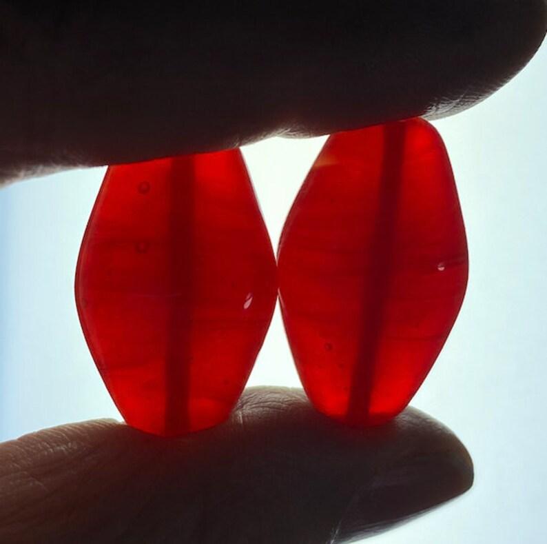 30mm x 18mm 5 Vintage Large Translucent Carnelian Glass Beads Flattened Ovals Japan Handmade Bright Red Lampwork,