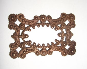 1 Vintage Brass Frame Heavy Stamping with Ornate Details, Nice Patina