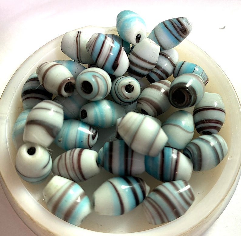 Powder Blue and Transparent Black Approx 12.5mm x 8mm 12 Vintage Handmade Striped Barrel Beads Japanese Turquoise