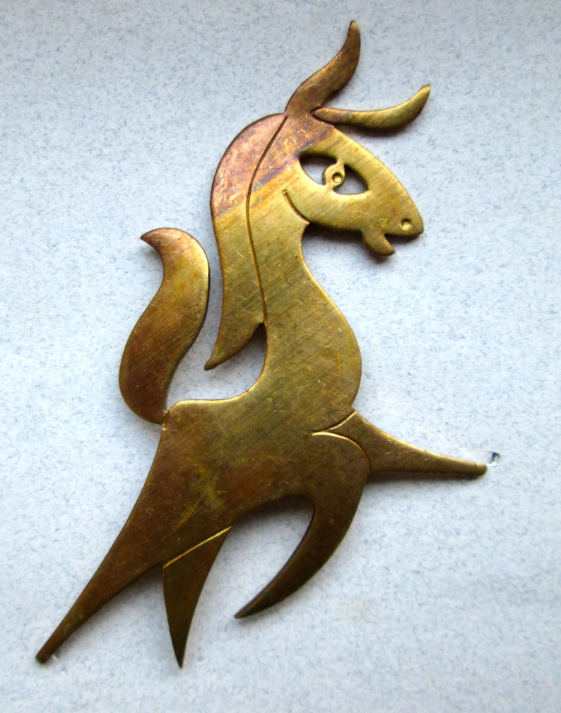 1 Signed Vintage Brass Horse Stamping Used in 1960/'s /'Kim/' Designs
