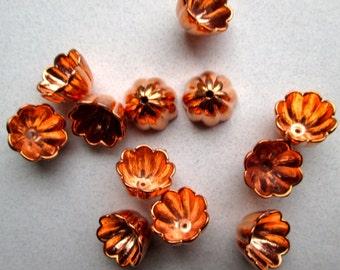 12 Copper Over Acrylic Flower Bead Caps
