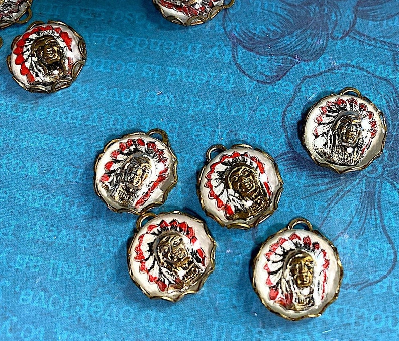 2 Vintage Glass Reverse Painted Intaglios of an Indian Chief Cabochon West Germany 13mm in Brass Bezel.