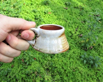 Espresso Mug, 4 oz Wood Fired Mug, Shino Glaze