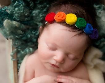 Rainbow headband   Rainbow baby headband   infant headband   rainbow baby    rainbow   rainbow rosette headband   rosette headband   rainbow 8d9ae464276