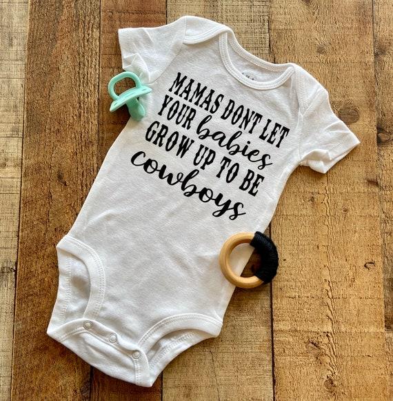 mama dont let your babies grow up to be cowboys  waylon shirt  cowboy bodysuit  mama bodysuit  cute bodysuit  country boy bodysuit