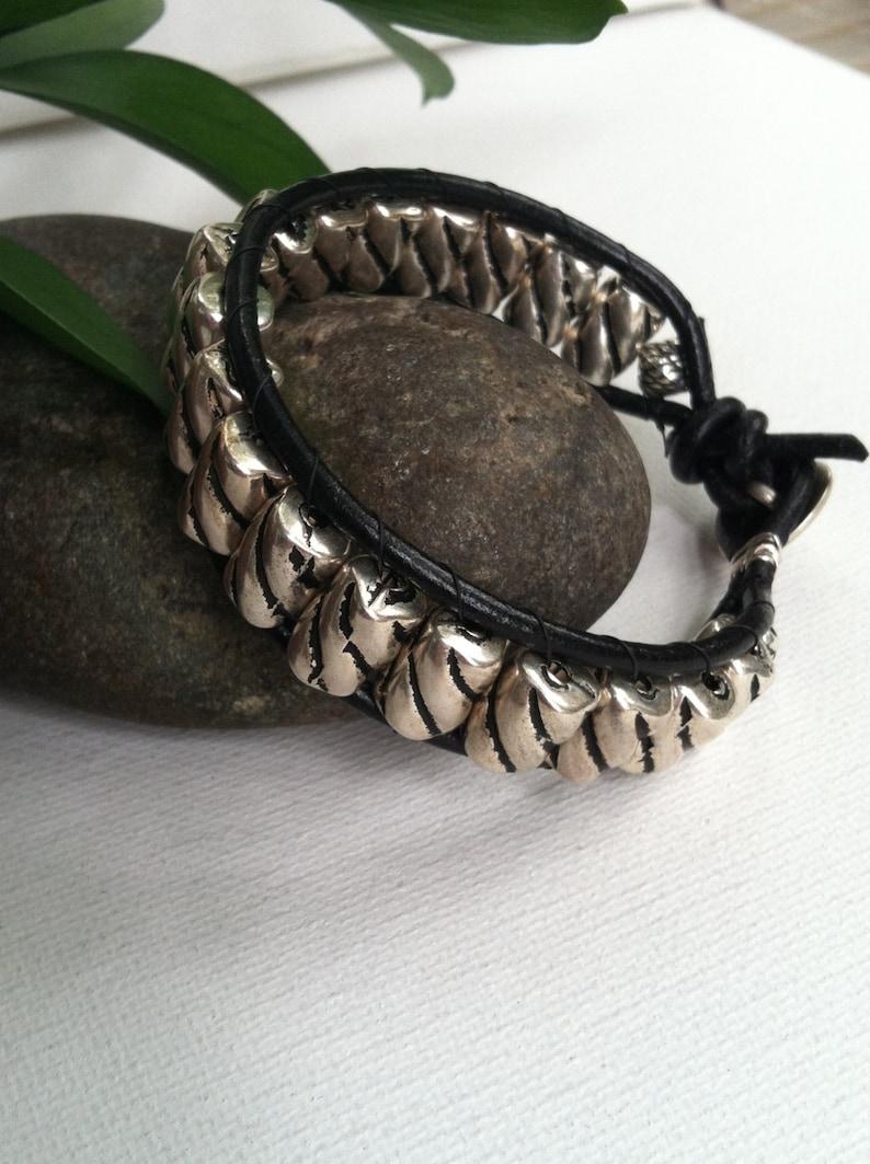 Men's bracelet men's leather bracelet mens silver image 0