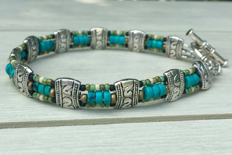 Turquoise Turquoise bracelet Southwestern style genuine image 0