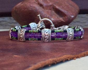 Mens Bracelet, Mens Amethyst bracelet, bead amethyst bracelets for men, beaded bracelet, Mens Amethyst bracelet, Mens gifts, boyfriend gift