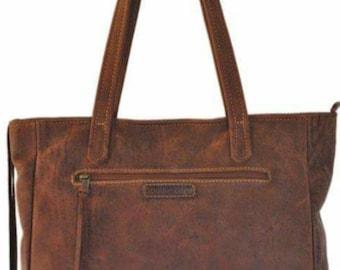 Tan/brown/oxblood Genuine leather tote bag