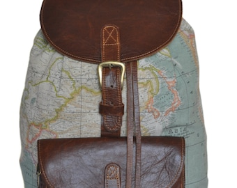 Items similar to world map backpack atlas print large genuine related to this item bags purses backpacks worldmap gumiabroncs Gallery