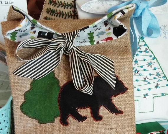 Burlap Holiday Gift Bag, Reuseable Christmas Fabric Gift Bag, Holly, Black Bear Gift Bag, Made in Maine