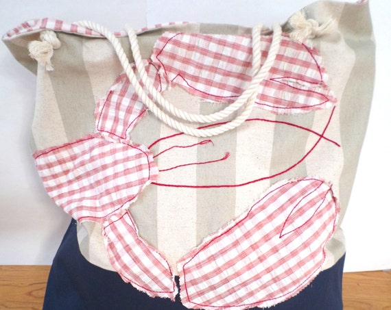 Red Lobster Striped Canvas Beach Bag XTRA LARGE / Hand Embroidered Tote Bag / Rope Handles