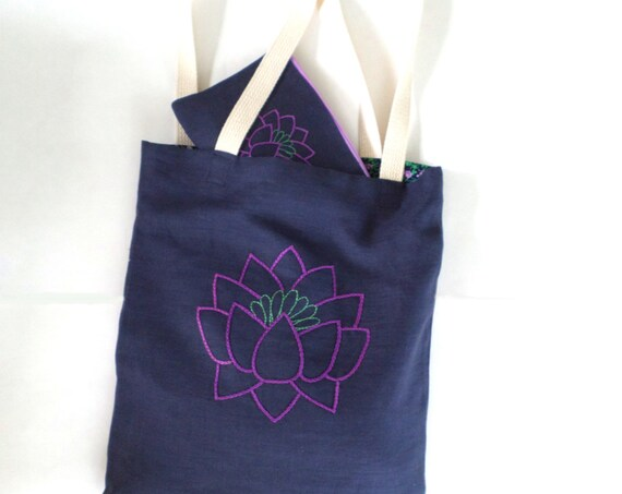 Linen Lotus Flower Tote Bag Set / Hand Embroidered Linen Purse / 100% Linen / Zipper Pouch / Wallet / Navy Blue / Made in Maine