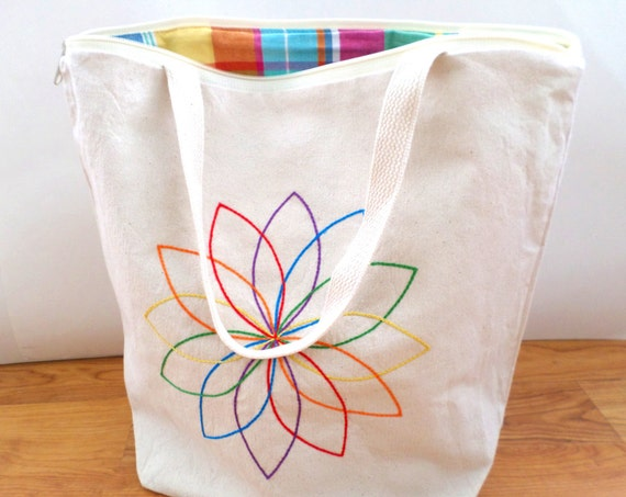 Rainbow Mandala Zipper Canvas Tote Bag Hand Embroidered