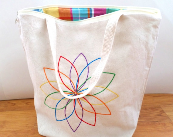 Rainbow Mandala Zipper Canvas Tote Bag / Hand Embroidered / Rainbow Mandala / Unique Handmade Tote Bag / Made in Maine