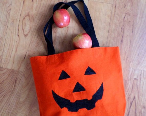 Halloween Trick or Treat Bag / Jack O' Lantern Tote Bag / Hand Embroidered / Pumpkin Orange Cotton Duck Canvas