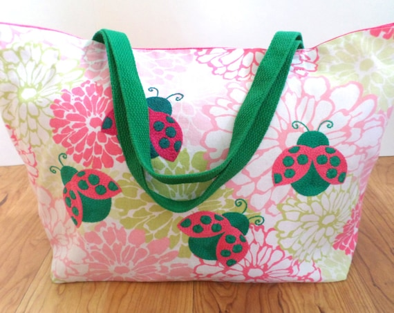 Lady Bugs Flower Tote Bag / Hand Embroidered Market Bag / Large Pink & Green Tote / Cotton Canvas Tote Bag /  Beach Bag / Made in Maine
