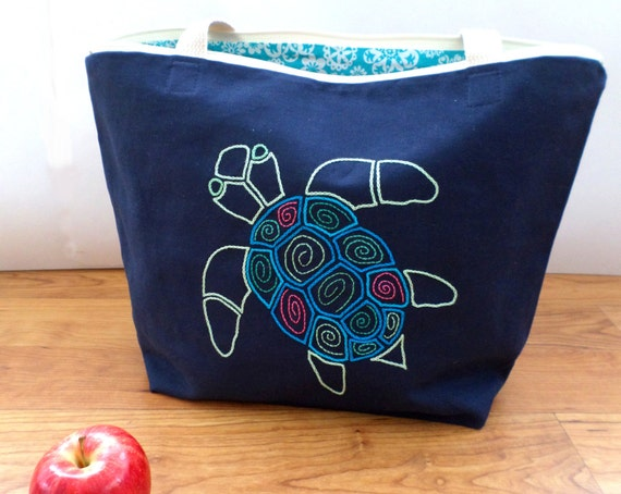 Sea Turtle Zip Tote Bag / Hand Embroidered Purse / Navy Blue Cotton Duck Canvas / Preppy Handbag / Unique Zippered Tote Bag / Made in Maine