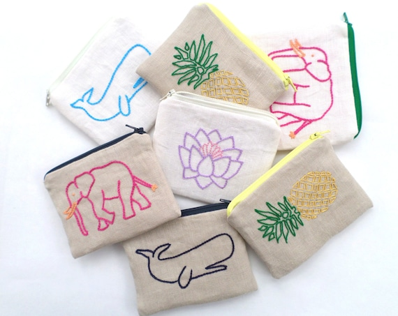 Linen Coin Purse / Hand Embroidered Wallets / Pineapplle / Elephant / Lotus Flower / Whale / Zipper Pouch / 100% Linen / Made in Maine