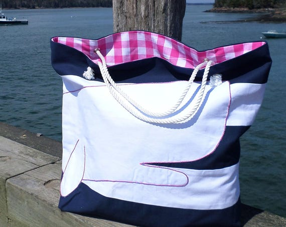 Pink Whale Striped Beach Bag / Navy Blue & White Cotton Duck Canvas Beach Bag / Hand Embroidered Tote / Xtra-Large Handmade Beach Bag