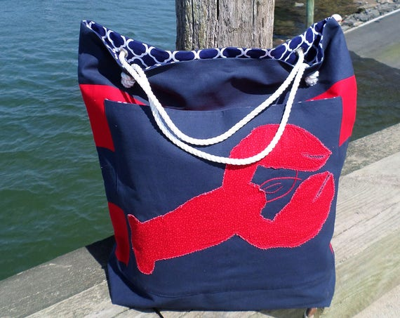 Red Lobster LARGE Striped Cotton Duck Canvas Beach Bag / Hand Embroidered Tote Bag / Handmade Red, White & Blue Rope Beach Bag