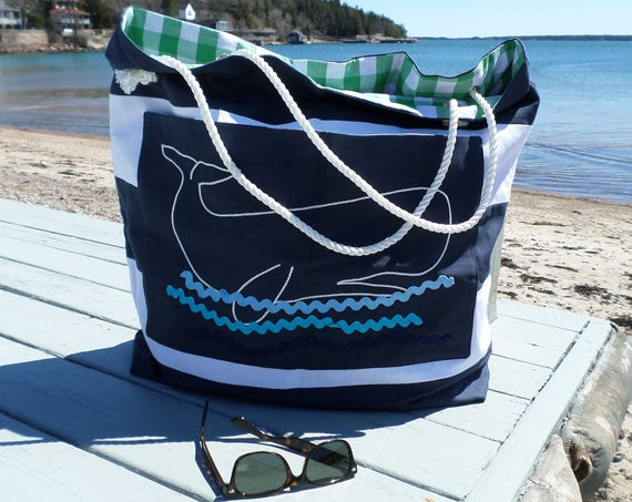 White Whale Striped Beach Bag / Cotton Duck Canvas / Hand Embroidered Tote