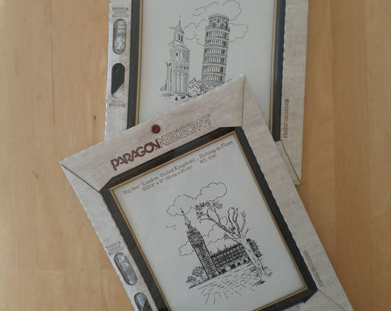 NOS Vintage Paragon Needlecraft Embroidery Kits - Big Ben, Leaning Tower of Pisa