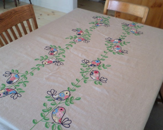 NEW Hand Embroidered 100% Linen Tablecloth, Scandinavian Design, Hand Embroidery, Swedish Folk Birds Tablecloth , Made in Maine