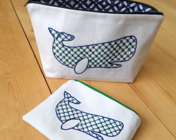 Whale Zipper Wallets / Hand Embroidered Zipper Pouches / Brodera Hallandssöm / Cotton Duck Canvas Zip Bag / Made in Maine / Swedish Folk
