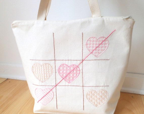 Tic Tac Hearts Hand Embroidered Cotton Zipper Tote Bag