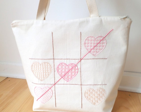 Tic Tac Hearts Hand Embroidered Cotton Zipper Tote Bag / Swedish Hallandssöm Hearts Tote Bag / Valentine Bag / Made in Maine
