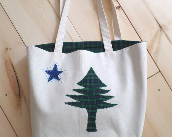 Original 1901 Maine Flag Tote Bag / MEDIUM / Cotton Duck Canvas / Unique Handmade Bag / Made in Maine