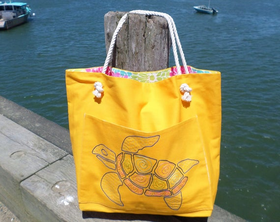 Sea Turtle Beach Bag / Bright Yellow Cotton Duck Canvas  / Hand Embroidered Tote Bag