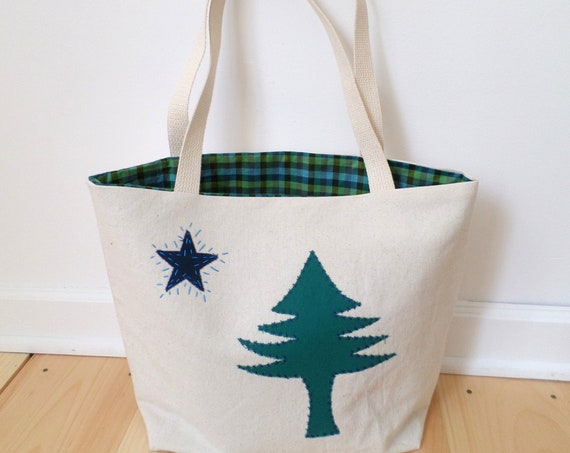 Original Maine Flag Tote Bag MED / 1901 Maine Flag Tote / Hand Embroidered Purse / Cotton Duck Canvas / Unique Handmade Bag / Made in Maine