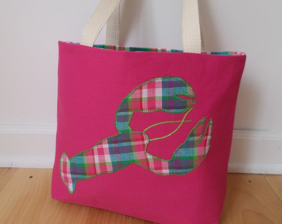 Lobster Tote Bag / Hand Embroidered Purse / Pink Cotton Duck Canvas / Preppy Plaid Handbag / Unique Handmade Bag / Made in Maine