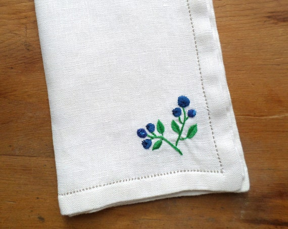 Hand Embroidered Linen Napkins, Set of 4 NQP, Wild Maine Blueberry Design, Made in Maine