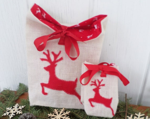 Reindeer Holiday Gift Bag Hand Embroidered