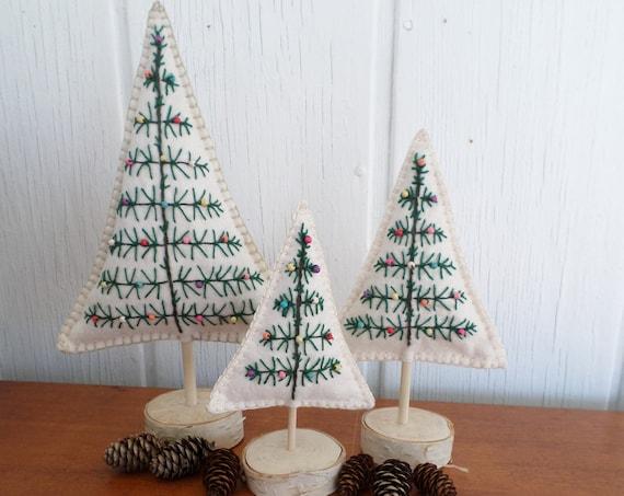 Maine Balsam Fir Hand Embroidered Felt Tabletop Tree Sculpture, Made in Maine 2021