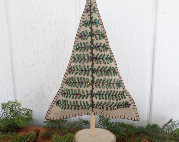Maine Balsam Fir Hand-Embroidered Felt Tabletop Christmas Tree