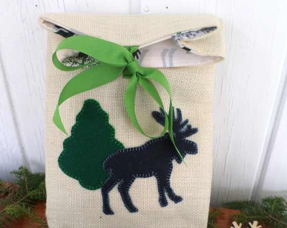 Moose Holiday Gift Bag Hand Embroidered
