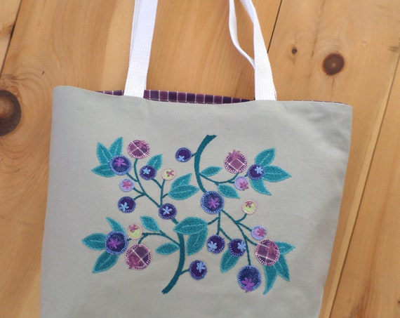 Wild Maine Blueberry Canvas Tote Bags Hand Embroidered