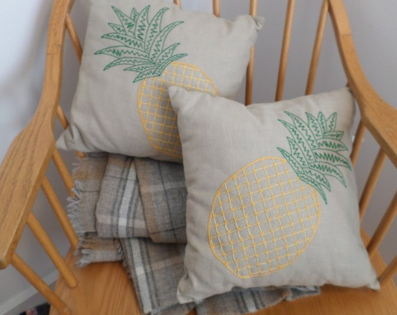 Golden Pineapple Linen Throw Pillow, Hand Embroidered Linen Throw Pillow, Brodera Hallandssom Folk Design, Made in Maine