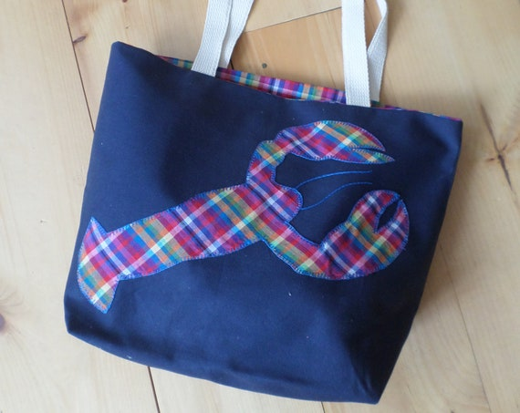 Lobster Tote Bag / Hand Embroidered Purse / Navy Cotton Duck Canvas / Rainbow Madras Plaid Handbag / Unique Handmade Bag / Made in Maine