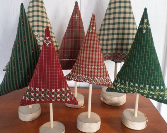 Maine Balsam Fir Hand Embroidered Gingham Homespun Tabletop Tree