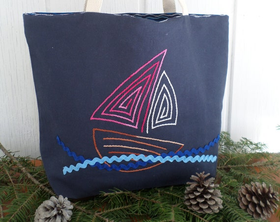 Sail Boat Tote Bag / Hand Embroidered Purse / Navy Blue Cotton Duck Canvas / Unique Canvas Tote Bag / Made in Maine