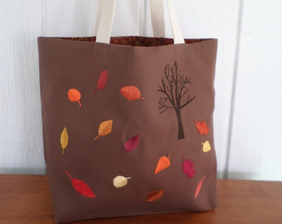 Autumn Leaves Tote Bag / Hand Embroidered Purse / Cotton Duck Canvas / Unique Handmade Bag / Made in Maine