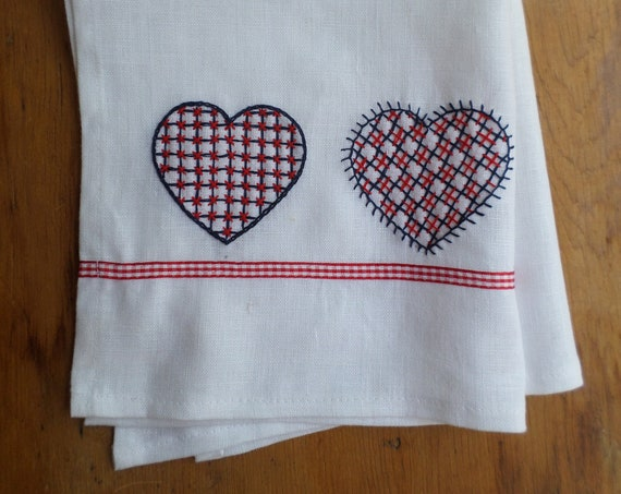 Hand Embroidered Linen Tea Towel, Swedish Hearts, Made in Maine, Brodera Hallandssöm