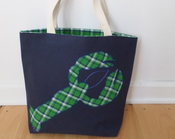 Lobster Tote Bag / Hand Embroidered Purse / Navy Cotton Duck Canvas / Preppy Plaid Handbag / Unique Handmade Bag / Made in Maine