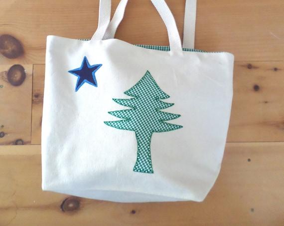 Original 1901 Maine Flag Tote Bag Hand Embroidered